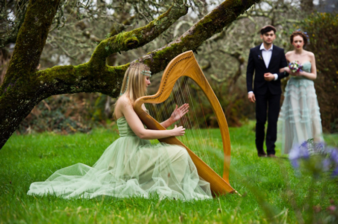 Harp Instrument at Irish Wedding